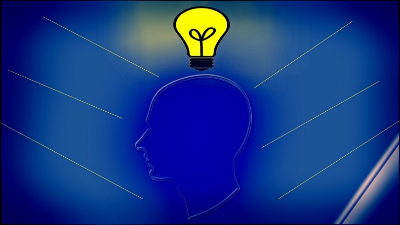 Illustration of a person with a light bulb over their head, indicating an idea.