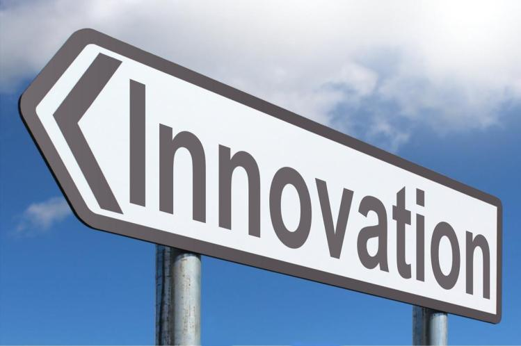 "A highway sign reads ""Innovation."""