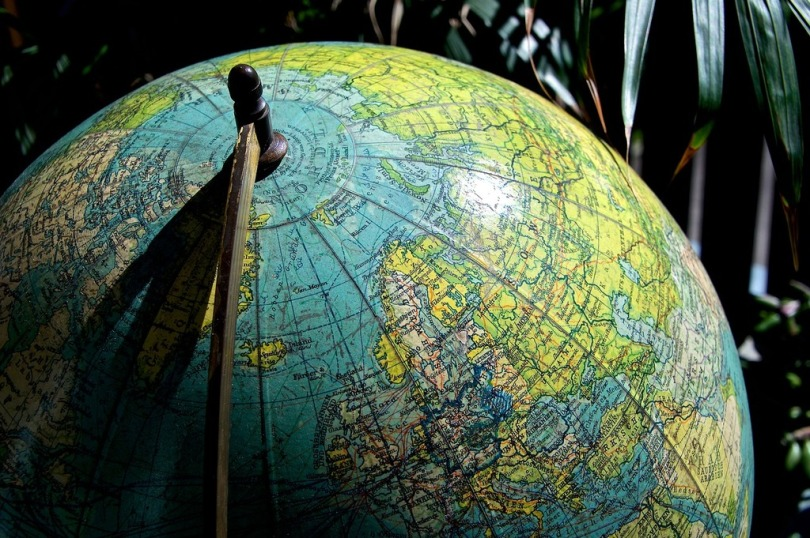Tight shot of a globe.