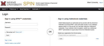 "Screenshot of the SPIN login page. On the left side of the screen there is a header that says ""Login."" Below that is a subheader: ""Sign in using SPIN credentials."" Below that are text fields to enter a Username and Password, followed by a checkbox labeled ""Remember me? What's this?"" Below that is a Login button. Below that is a ""Sign In Help"" link and below that is a ""Need to create a new profile?"" link."