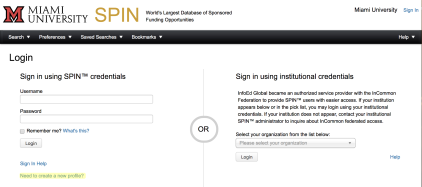 "Screenshot of the SPIN login page. On the left side of the screen there is a header that says ""Login."" Below that is a subheader: ""Sign in using SPIN credentials."" Below that are text fields to enter a Username and Password, followed by a checkbox labeled ""Remember me? What's this?"" Below that is a Login button. Below that is a ""Sign In Help"" link and below that is a ""Need to create a new profile?"" link, which is highlighted in yellow."
