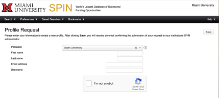 "Screenshot of the ""Profile Request"" screen. Underneath the ""Profile Request header, are these instructions: ""Please enter your information to create a new profile. After clicking Save, you will receive an email confirming the submission of your request to your institution's SPIN administrator."" Below those instructions are fields for Institution, First name, Last name, Email address, and Username. Below that is a CAPTCHA box. In the upper right corner is a Save button."