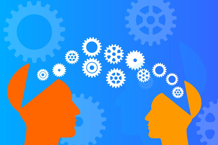 Illustration of two silhouetted heads. The tops of both heads are hinged and gears exiting and entering the hinged portions of the heads represent the transfer of knowledge from the larger/mentor head to the smaller/mentee head.