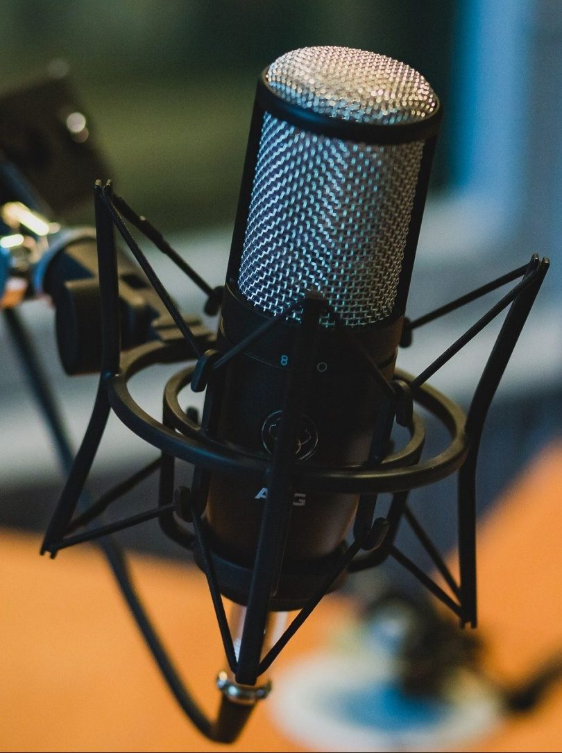 A microphone in a studio.