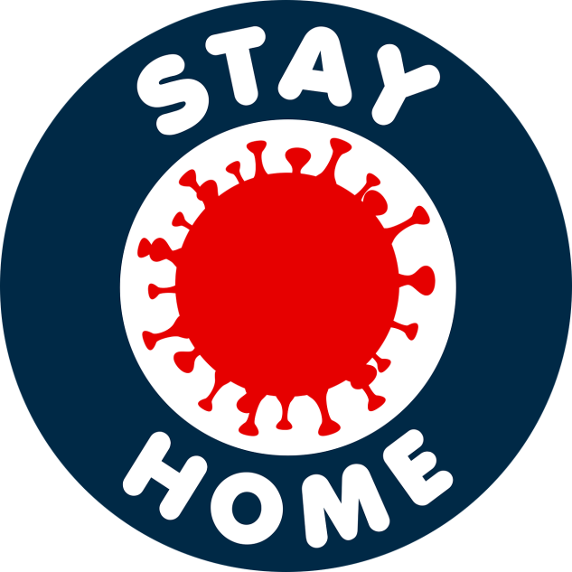 """Stay home"" badge with image of a coronavirus in the center."