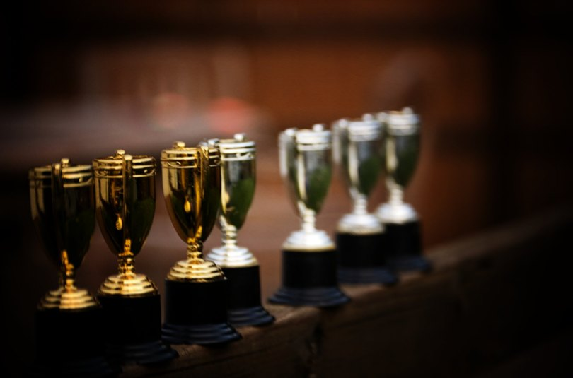 A line of trophies
