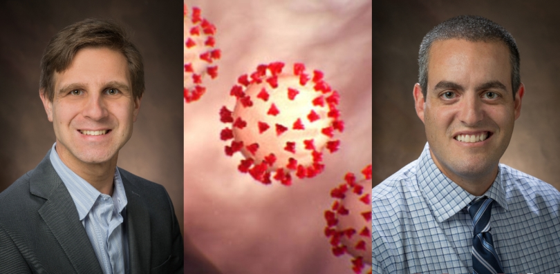 Portraits of Dominik Konkolewicz and Rick Page flank an image of coronaviruses.