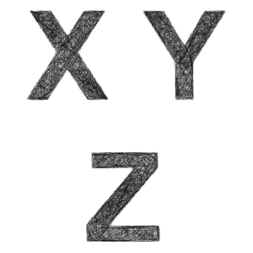 Sketch of the letters X, Y, and Z
