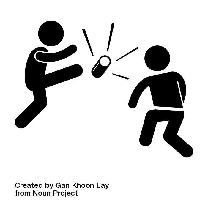 Two children play kick the can