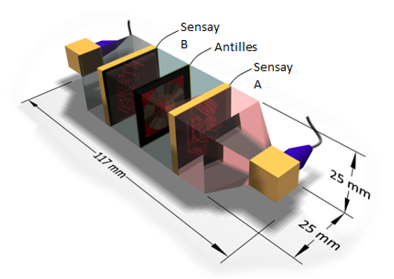 Diagram shows components -- Sensay A, Antilles, and Sensay B -- arranged parallel to each other within an outer structure. The dimensions of the outer structure are labeled. It is 117mm long by 25 mm wide by 25 mm deep.
